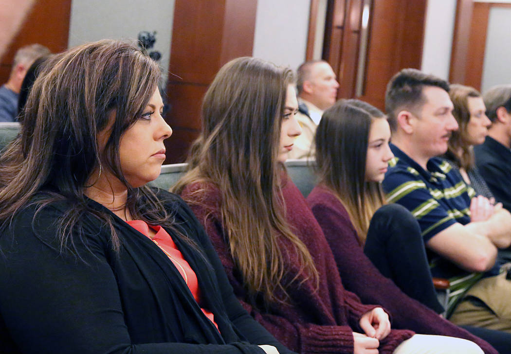 Jennifer Otremba, left, mother of murder victim Alyssa Otremba, her daughters Megan, 19, Hayden, 11, and her husband, Scott, right, attend the penalty phase of Javier Righetti's murder trial at th ...