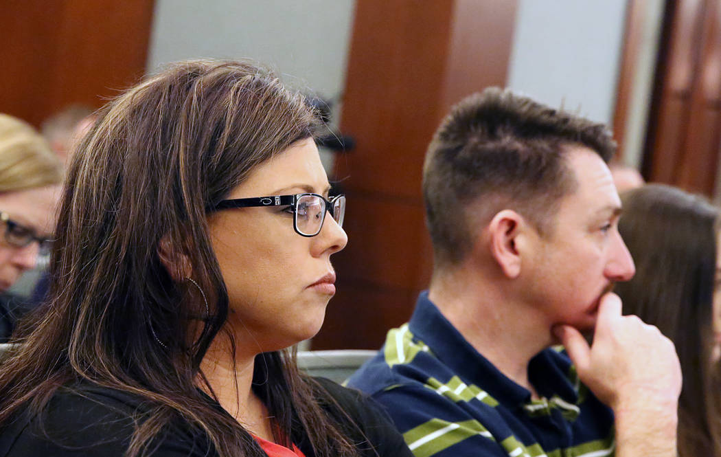 Jennifer and Scott Otremba, the parents of murder victim Alyssa Otremba, attend Javier Righetti's trial at the Regional Justice Center on Tuesday, March 21, 2017, in Las Vegas. (Bizuayehu Tesfaye/ ...