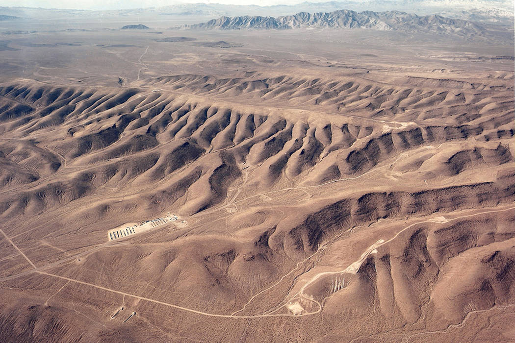 An overhead look at Yucca Mountain looking west in Nye County in this undated photo. (U.S. Department of Energy)