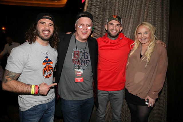 Clay Guida, Derek Stevens, Cody Garbrandt and Whitney Godard at Joe Vicari's Andiamo Italian Steakhouse at The D Las Vegas. (Courtesy)