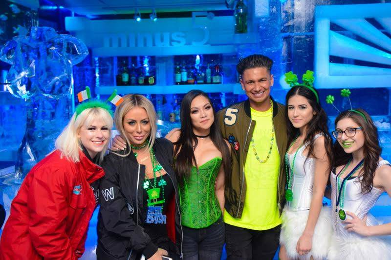 Aubrey O'Day, second from left, and DJ Pauly D, third from right, at Minus 5 Ice Experience at Mandalay Bay on Friday, March 17, 2017, in Las Vegas. (Minus 5 Ice Experience)
