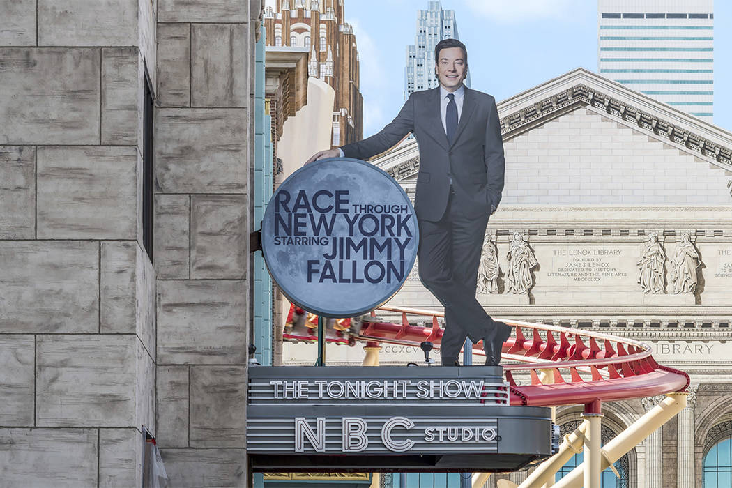 """This undated photo made available by Universal Orlando Resort, shows the new """"Race Through New York Starring Jimmy Fallon"""" ride in Orlando. Universal is leading the theme-park charge into """"virtual ..."""