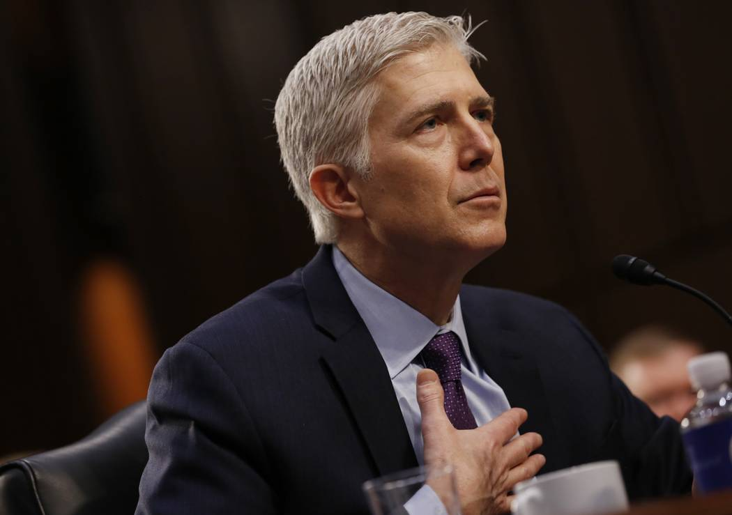 U.S. Supreme Court nominee judge Neil Gorsuch testifies during the second day of his Senate Judiciary Committee confirmation hearing on Capitol Hill in Washington, U.S., March 21, 2017. REUTERS/Jo ...