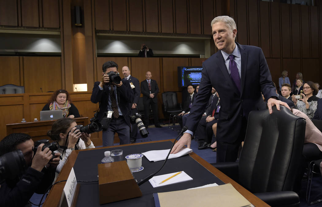 Supreme Court Justice nominee Neil Gorsuch arrives on Capitol Hill in Washington, Tuesday, March 21, 2017, for his confirmation hearing before the Senate Judiciary Committee. (Susan Walsh/AP)