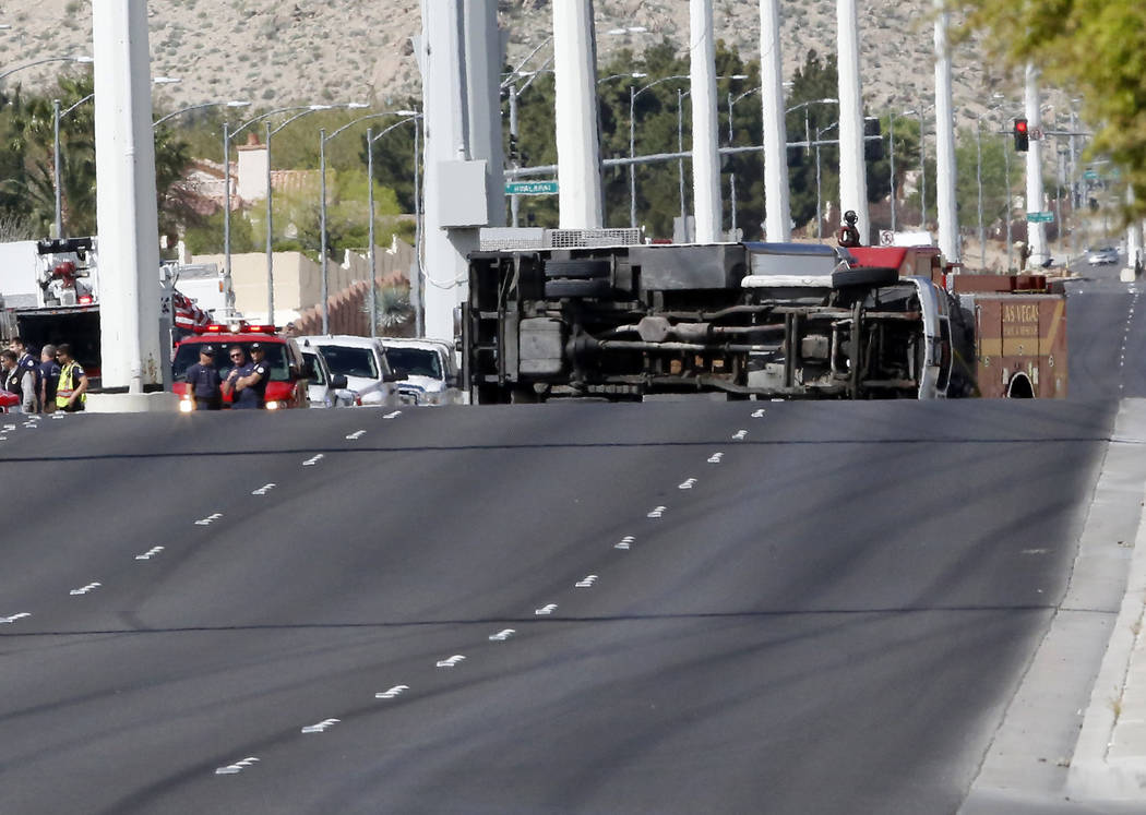 A 20-foot box truck containing chemicals tipped over near the intersection of Cheyenne Ave and North Grand Canyon Drive on Tuesday, March 21, 2017, in Las Vegas. (Christian K. Lee/Las Vegas Review ...