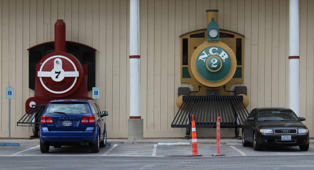Decorative trains outside the Palace Station hotel-casino in Las Vegas, Tuesday, March 21, 2017. The Palace Station hotel-casino will be moving its trains as the hotel moves ahead with its renovat ...
