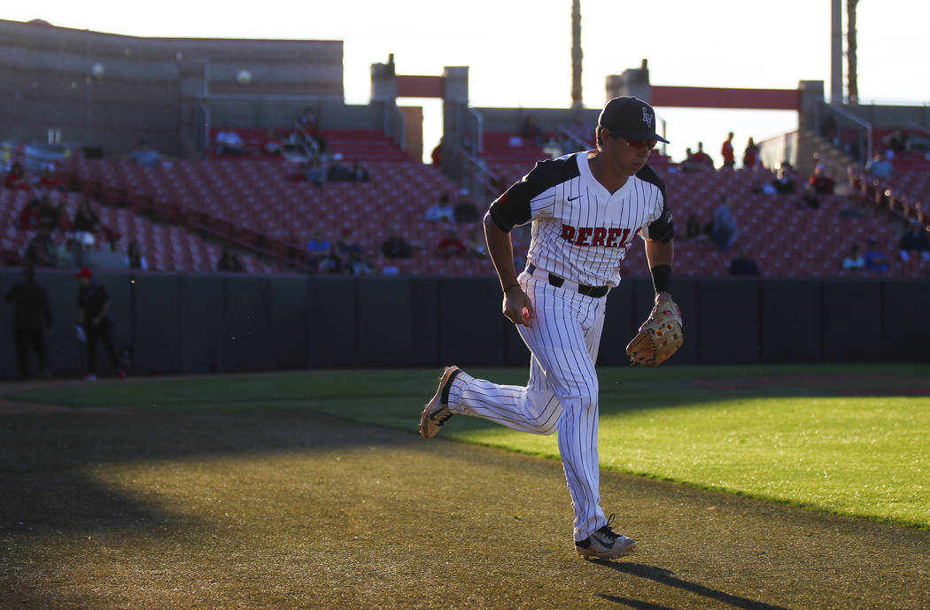 UNLV infielder Justin Jones (2) takes the field before a baseball game against New Mexico at Wilson Stadium in Las Vegas on Friday, March 24, 2017. (Chase Stevens/Las Vegas Review-Journal) @csstev ...
