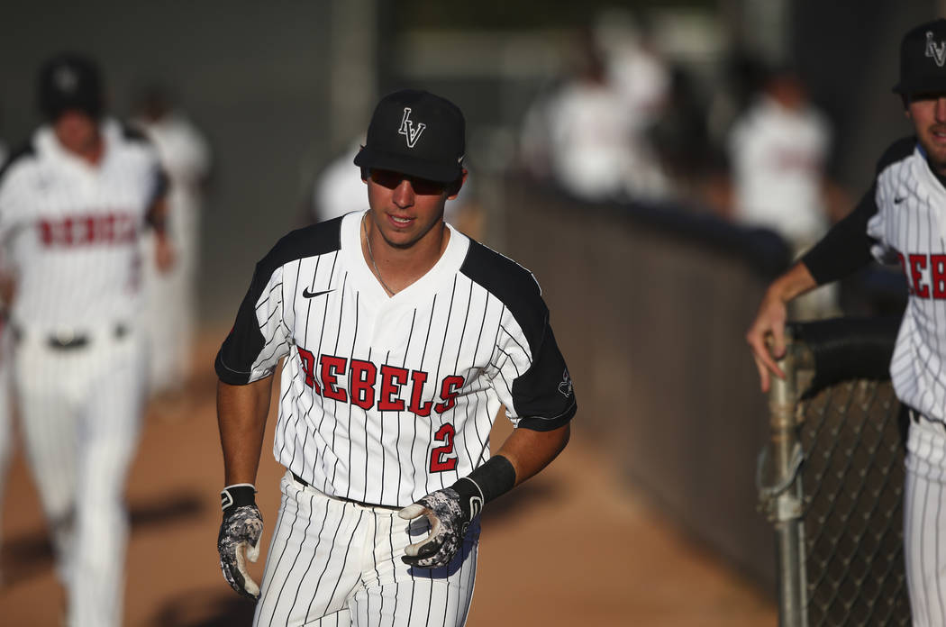 UNLV infielder Justin Jones (2) heads for the dugout before playing New Mexico in a baseball game at Wilson Stadium in Las Vegas on Friday, March 24, 2017. (Chase Stevens/Las Vegas Review-Journal) ...