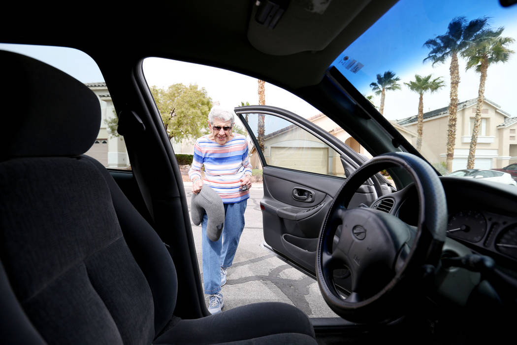 Gladys Stroud, turning 100 March 31,2017, gets into her car at her home in Las Vegas,  Wednesday, March 22, 2017. (Elizabeth Brumley/Las Vegas Review-Journal) @EliPagePhoto