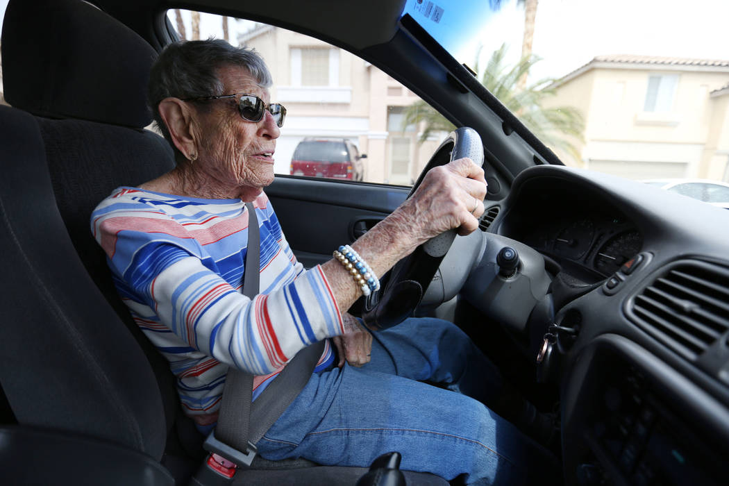 Gladys Stroud, turning 100 March 31,2017, drives her car near her home in Las Vegas,  Wednesday, March 22, 2017. (Elizabeth Brumley/Las Vegas Review-Journal) @EliPagePhoto