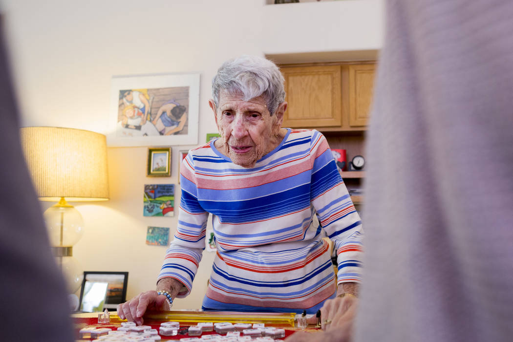 Gladys Stroud, turning 100 March 31, 2017, plays the game of mahjong in her home in Las Vegas,  Wednesday, March 22, 2017. (Elizabeth Brumley/Las Vegas Review-Journal) @EliPagePhoto