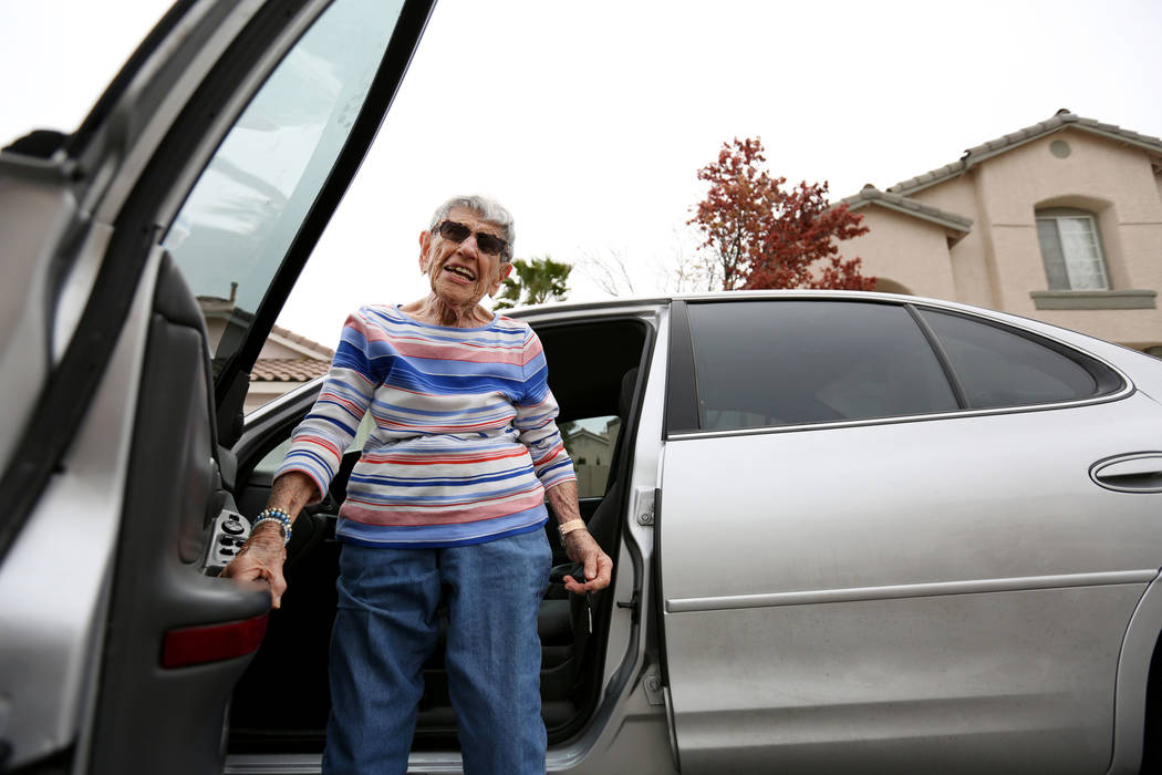 Gladys Stroud, turning 100 March 31,2017, gets out of her car after driving, at her home in Las Vegas,  Wednesday, March 22, 2017. (Elizabeth Brumley/Las Vegas Review-Journal) @EliPagePhoto