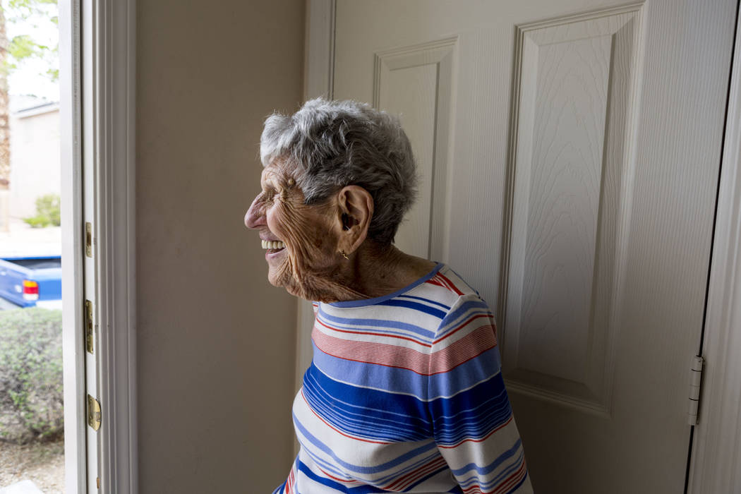 Gladys Stroud, turning 100 March 31,2017, stands in her doorway of her home Las Vegas,  Wednesday, March 22, 2017. (Elizabeth Brumley/Las Vegas Review-Journal) @EliPagePhoto