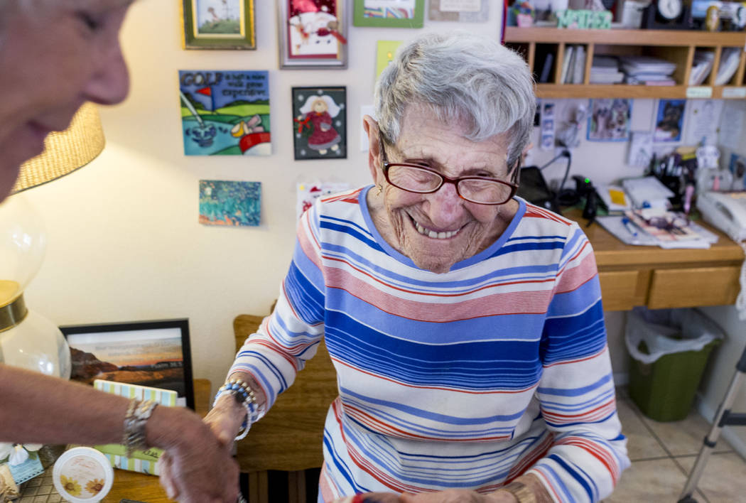 Gladys Stroud, turning 100 March 31,2017, in her home in Las Vegas with friends, Wednesday, March 22, 2017. (Elizabeth Brumley/Las Vegas Review-Journal) @EliPagePhoto
