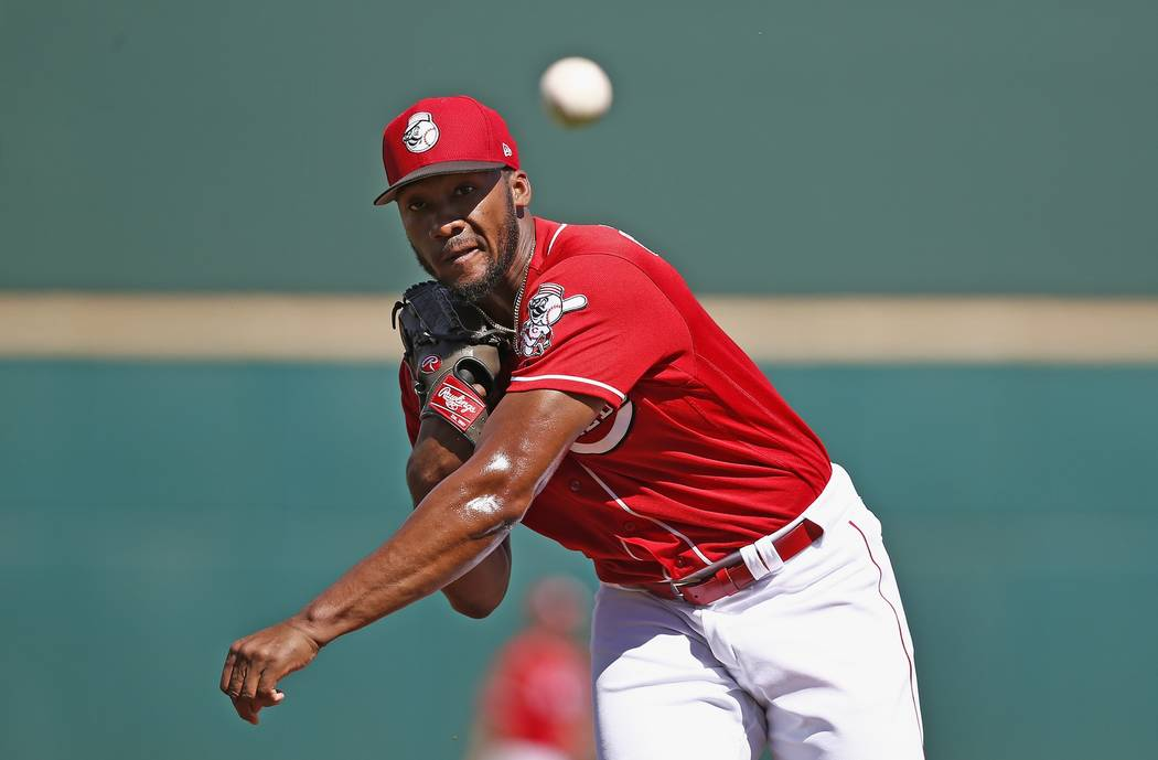 Cincinnati Reds starting pitcher Amir Garrett warms up prior to a spring training baseball game against the Los Angeles Angels Wednesday, March 8, 2017, in Goodyear, Ariz. The Angels defeated the  ...