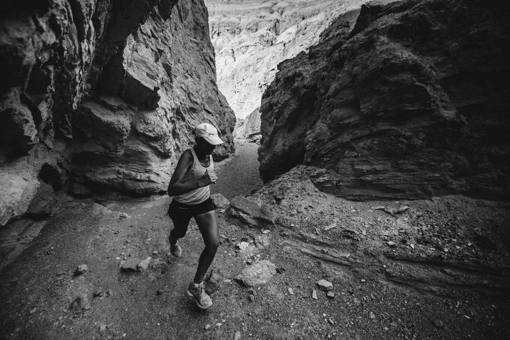 Ultra-marathoner and water advocate Mina Guli runs through Titus Canyon in Death Valley on March 21, 2016. The 46-year-old from Australia will embark from the Springs Preserve Wednesday on a six-w ...