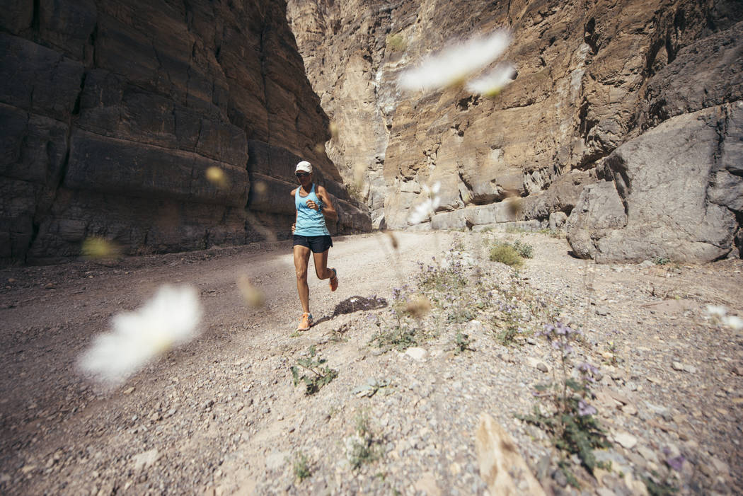 Ultra-marathoner and water advocate Mina Guli runs through Titus Canyon at Death Valley National Park on March 21, 2016. The 46-year-old from Australia will embark from the Springs Preserve Wednes ...