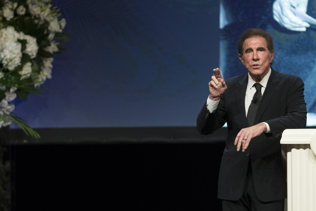 Steve Wynn, CEO of Wynn Resorts, speaks during the E. Parry Thomas memorial celebration at the Wynn hotel-casino on Tuesday, Sept. 6, 2016, in Las Vegas. (Erik Verduzco/Las Vegas Review-Journal) @ ...
