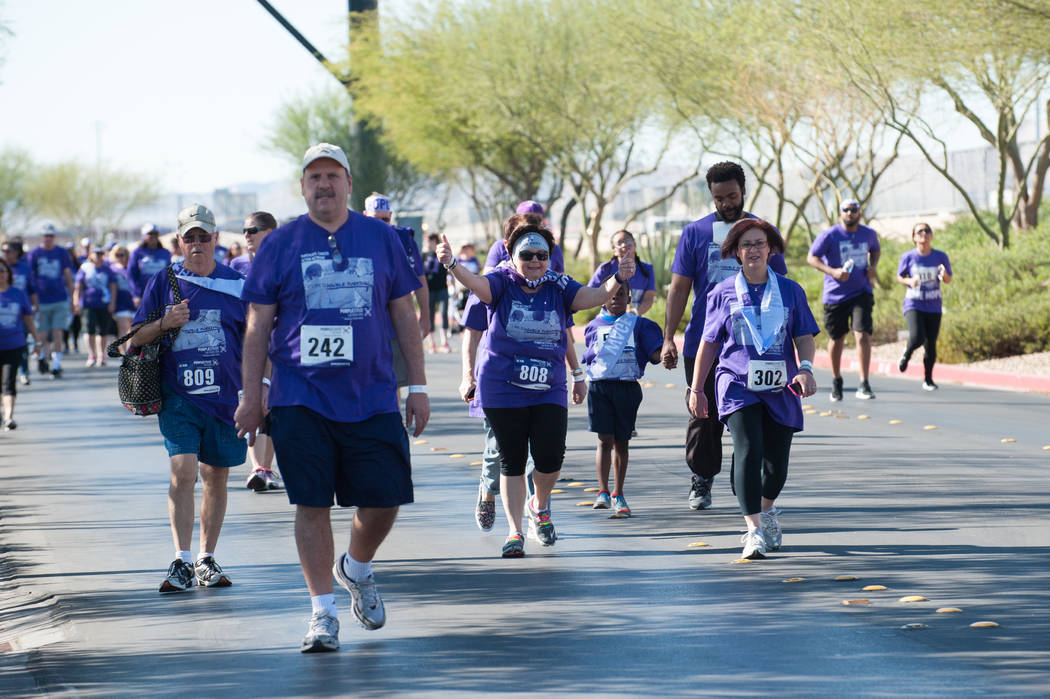 Runners participate in the PurpleStride Las Vegas event on April 2, 2016, at Town Square. (Photo courtesy K6 Studios)