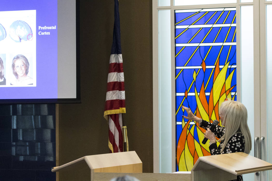 Dr. Miriam Adelson presents a drug study that she did on the Adelson Educational Campus's drug testing policy during a seminar for parents and staff at the school in Las Vegas on Tuesday, March 21 ...
