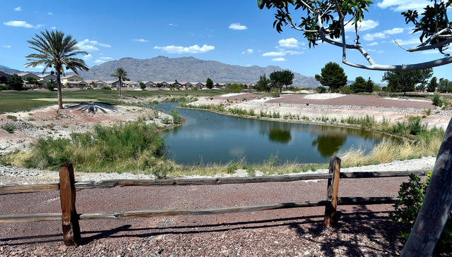 A water feature is half-filled at the closed Silverstone golf course, May 23, 2016, in Las Vegas. (David Becker/Las Vegas Review-Journal) @davidjaybecker