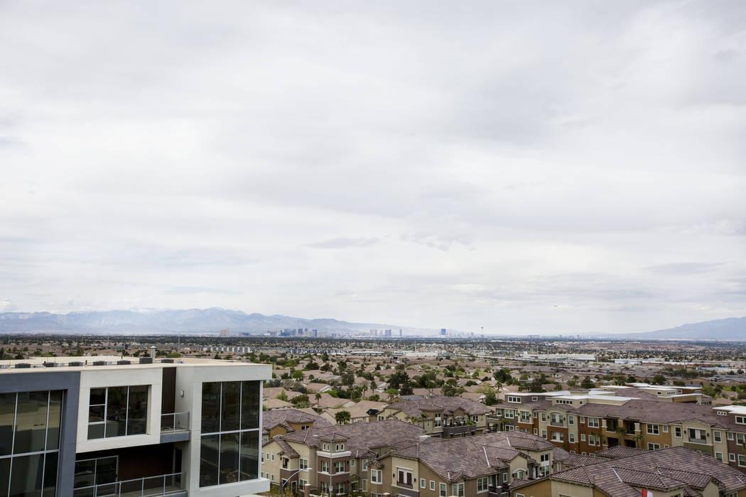 Vantage Lofts model luxury loft view of the Las Vegas strip in Henderson on South Gibson Road and Paseo Verde Parkway, Wednesday, March 22, 2017. (Elizabeth Brumley/Las Vegas Review-Journal) @EliP ...