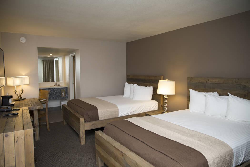 A Thunderbird Hotel room with two queen beds on Wednesday, March 22, 2017, in Las Vegas. (Erik Verduzco/Las Vegas Review-Journal) @Erik_Verduzco
