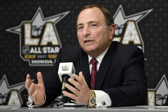 National Hockey League Commissioner Gary Bettman speaks during a news conference at Staples Center, Saturday, Jan. 28, 2017, in Los Angeles. The NHL All-Star Game is scheduled to be played at Stap ...