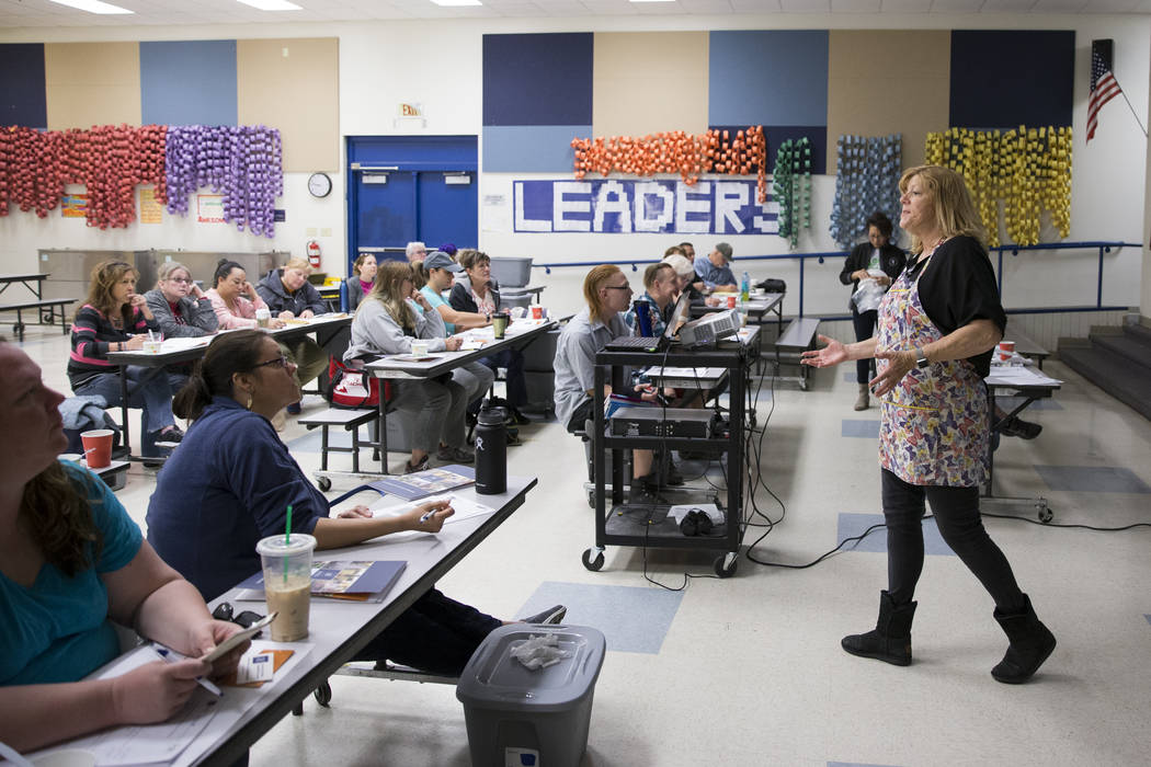 Karyn Johnson, school gardens coordinator for University of Nevada Cooperative Extension, teaches a worm composting class for local teachers at Lake Elementary School on Saturday, March 25, 2017,  ...