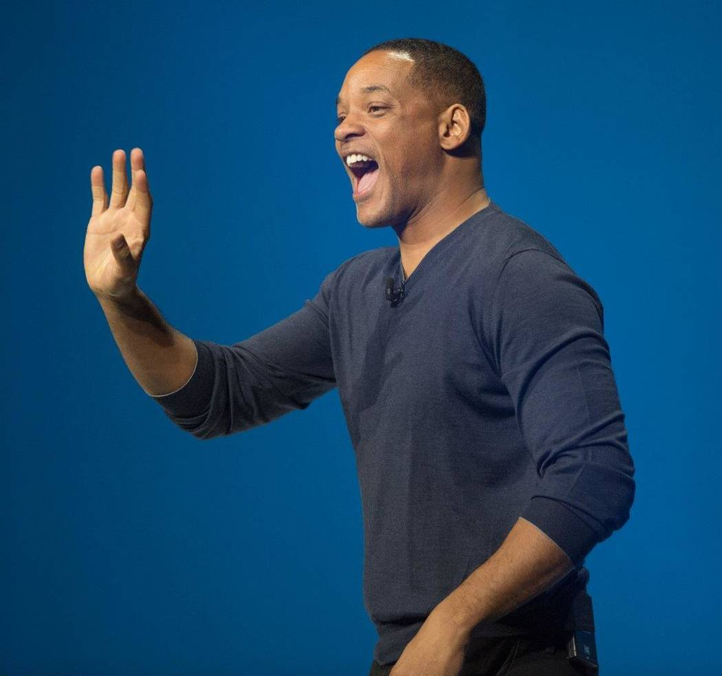 Will Smith appears at the IBM conference Monday, March 20, 2017, at Mandalay Bay and MGM Grand in Las Vegas. (Tom Donoghue)