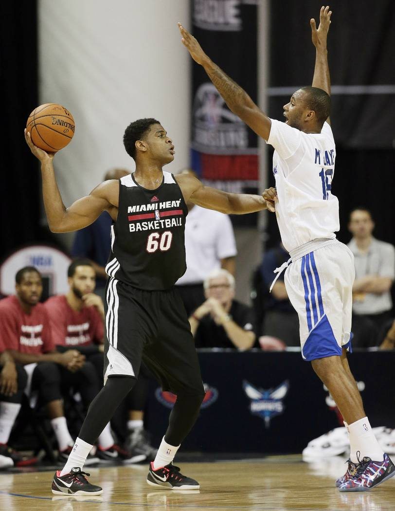 Las Angeles Clippers' Amath M'Baye, right, guards the Miami Heat's Ronald Roberts Jr. during the first half of an NBA summer league basketball game Monday, July 14, 2014, in Las Vegas. (AP Photo/J ...