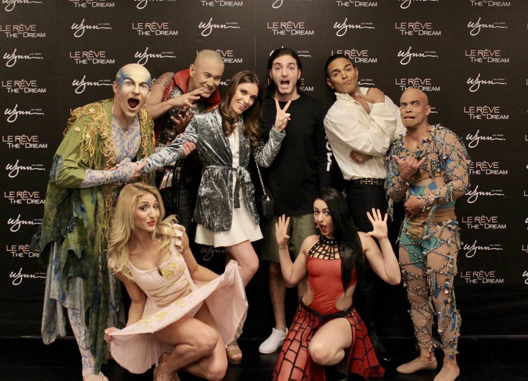 "Olivia Lindblad, Alesso and ""Le Reve -- The Dream"" cast members at Wynn Las Vegas. (Courtesy)"