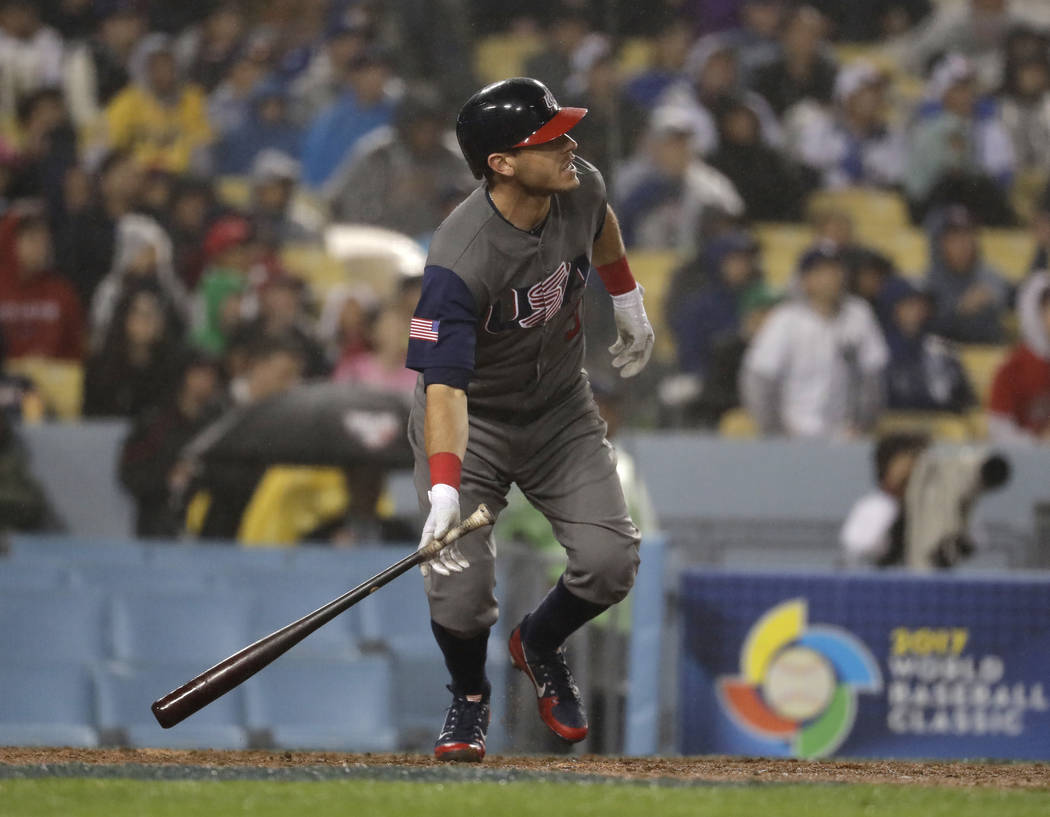 United States' Ian Kinsler hits a double during the eighth inning of a semifinal in the World Baseball Classic against Japan, in Los Angeles, Tuesday, March 21, 2017. (AP Photo/Chris Carlson)