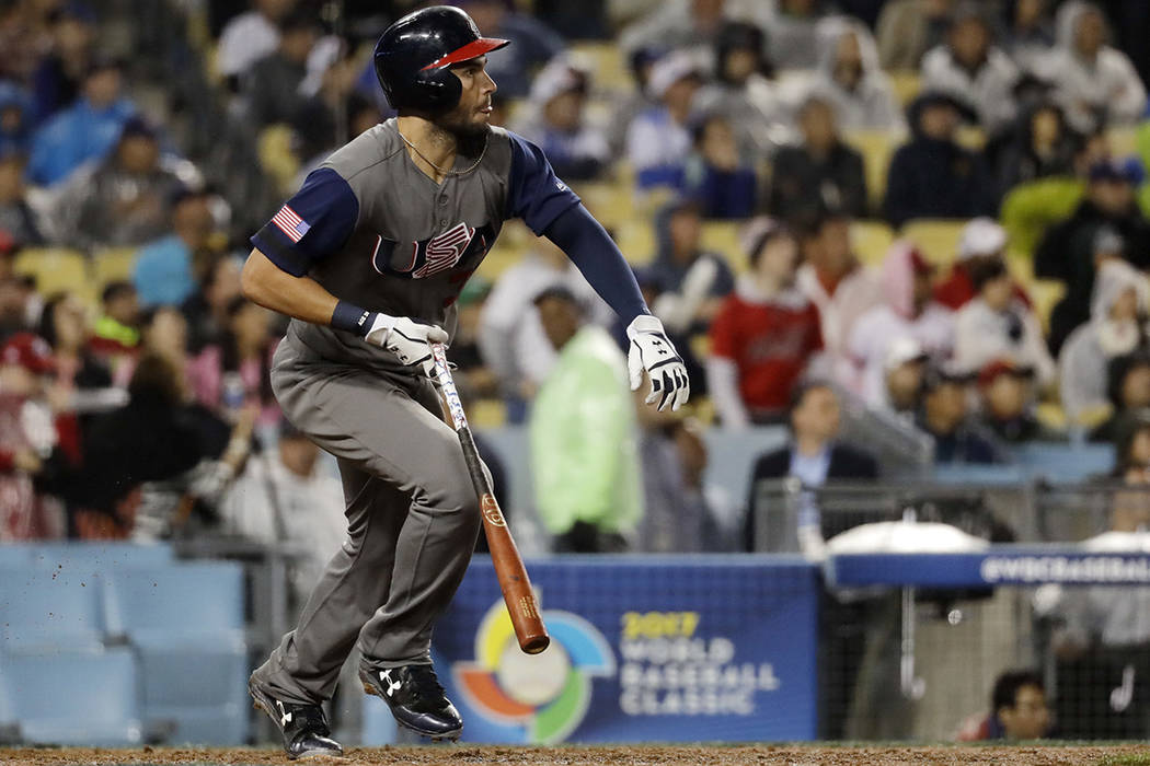 United States' Eric Hosmer hits a double during the ninth inning of a semifinal in the World Baseball Classic against Japan, in Los Angeles, Tuesday, March 21, 2017. (AP Photo/Chris Carlson)