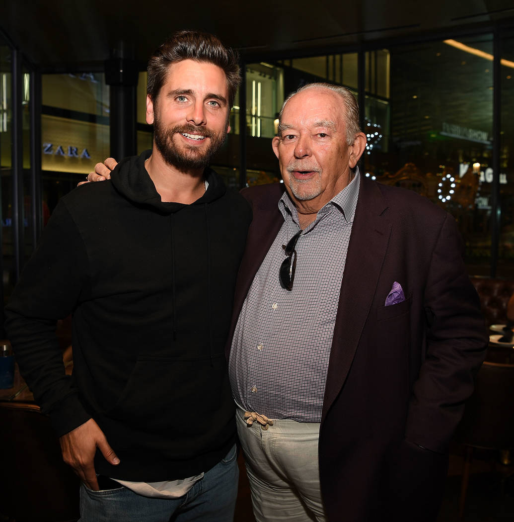 Scott Disick, with Robin Leach, hosts the grand opening of Sugar Factory Fashion Show on Saturday, March 18, 2017, in Las Vegas. (Denise Truscello/Getty Images)