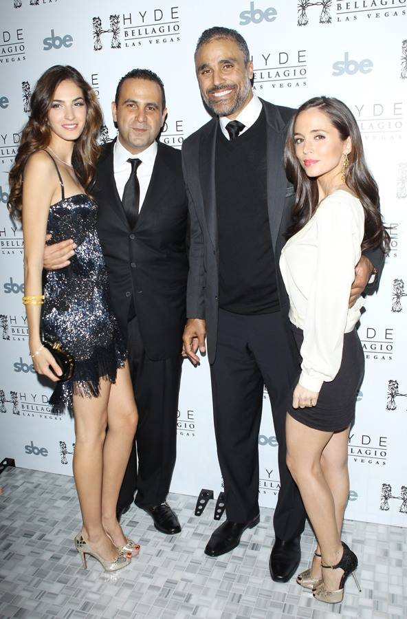 Emina Cunmulaj, Sam Nazarian, Rick Fox and Eliza Dushku arrive at Hyde Bellagio on Saturday, Dec. 31, 2011, in Las Vegas. (Courtesy)