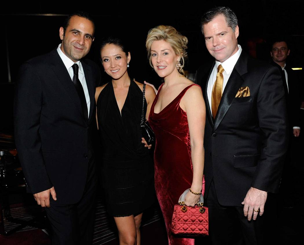 SBE CEO Sam Nazarian, Tina Choi, Heather Murren and MGM Mirage Chairman and CEO Jim Murren attend the opening-night gala for Mandarin Oriental Las Vegas at CityCenter on Friday, Dec. 4, 2009. (Eth ...