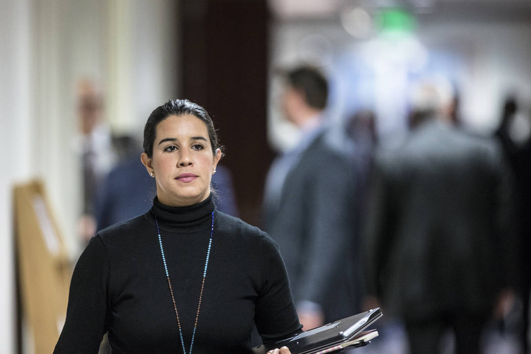 Sen. Yvanna Cancela, D-Nev., walks to the Senate Chamber during the second day of the Nevada Legislative session on Tuesday, Feb. 7, 2017, at the Legislative Building, in Carson City. (Benjamin Ha ...