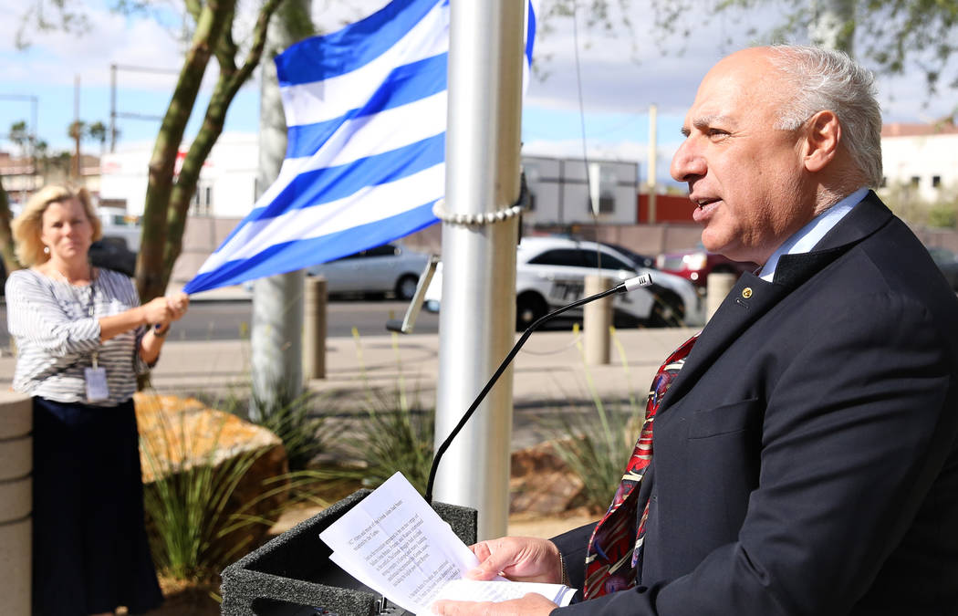 Councilman Stavros Anthony delivers a speech during the Greek Independence Day with a flag raising ceremony outside the City Hall on Thursday, March 23, 2017, in Las Vegas. (Bizuayehu Tesfaye/Las  ...