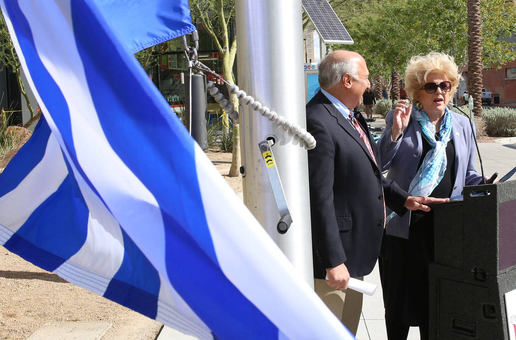 Las Vegas Mayor Carolyn Goodman delivers a speech as councilman Stavros Anthony looks on during the Greek Independence Day with a flag raising ceremony outside the City Hall on Thursday, March 23, ...