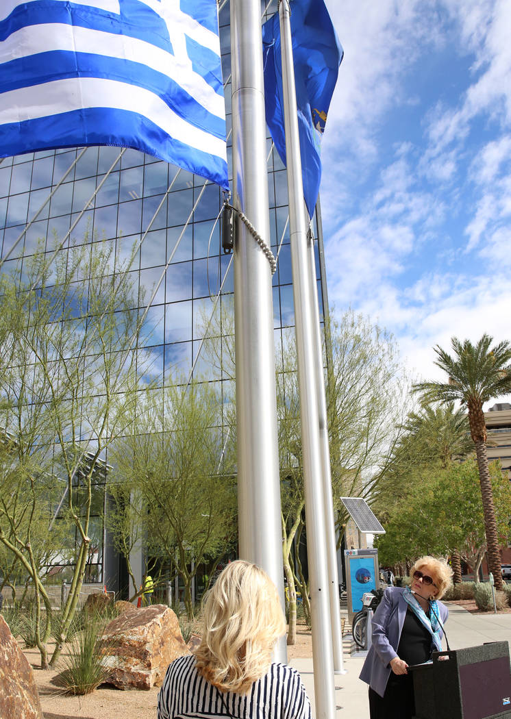 Las Vegas Mayor Carolyn Goodman watches the Greek flag being raised during the Greek Independence Day Ceremony outside the City Hall on Thursday, March 23, 2017, in Las Vegas. (Bizuayehu Tesfaye/L ...