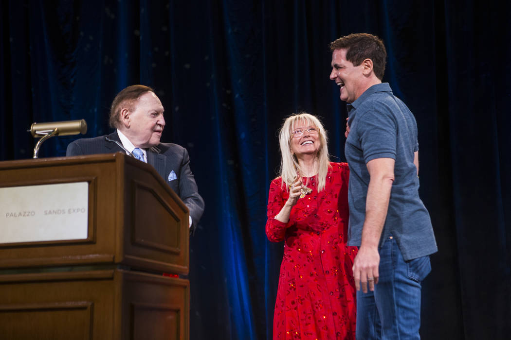 Entrepreneur Mark Cuban, right, is introduced to the stage by Dr. Miriam Adelson and Las Vegas Sands Corp. Chairman and CEO Sheldon Adelson during the Adelson Educational Campus' 13th annual In Pu ...