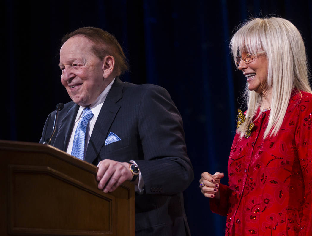 Las Vegas Sands Corp. Chairman and CEO Sheldon Adelson shares a laugh with his wife Dr. Miriam Adelson during the Adelson Educational Campus' 13th annual In Pursuit of Excellence Gala at The Venet ...