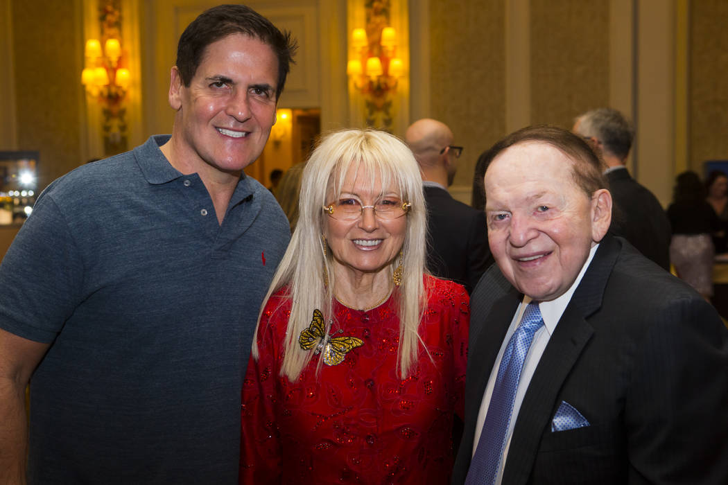Entrepreneur Mark Cuban, left, poses with Dr. Miriam Adelson and Las Vegas Sands Corp. Chairman and CEO Sheldon Adelson during the Adelson Educational Campus' 13th annual In Pursuit of Excellence  ...