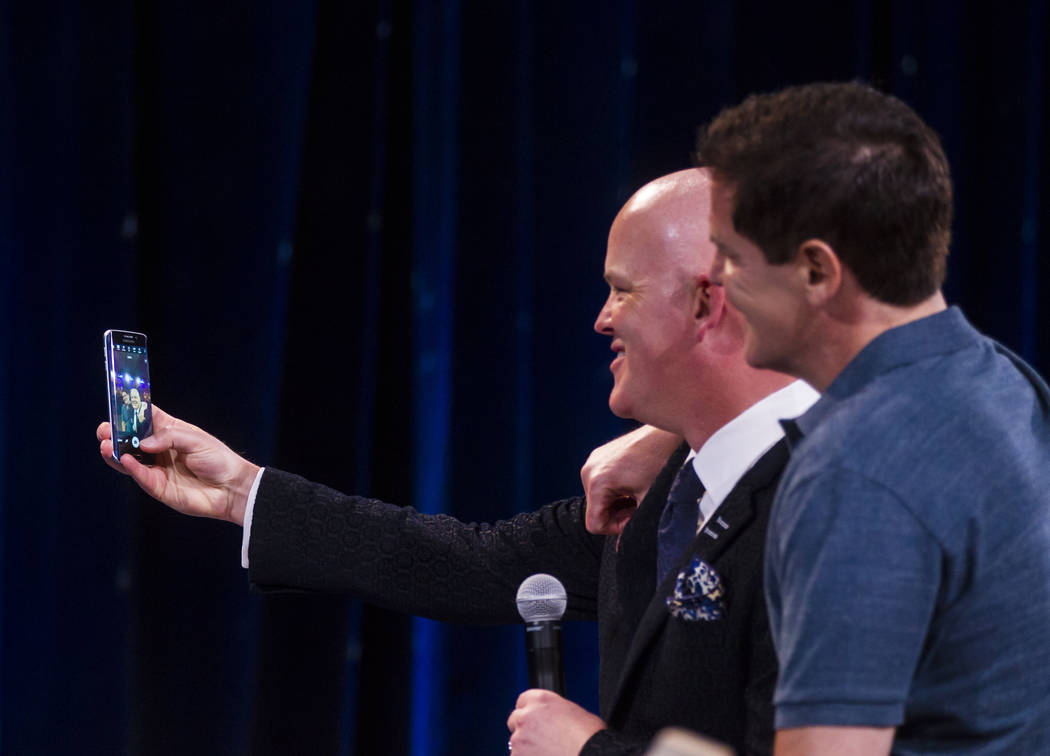 Chet Buchanan, left, takes a selfie with entrepreneur Mark Cuban during tthe Adelson Educational Campus' 13th annual In Pursuit of Excellence Gala at The Venetian hotel-casino in Las Vegas on Sund ...
