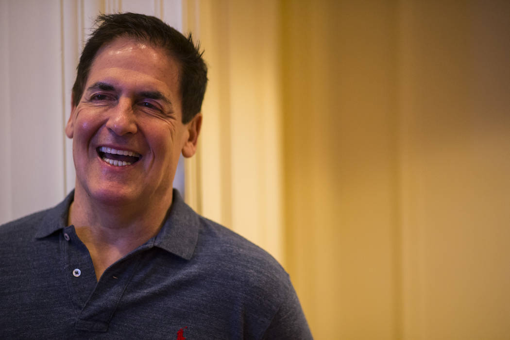 Entrepreneur Mark Cuban, honoree of the Dr. Miriam and Sheldon G. Adelson In Pursuit of Excellence Award, at The Venetian hotel-casino in Las Vegas on Sunday, March 26, 2017. (Chase Stevens/Las Ve ...