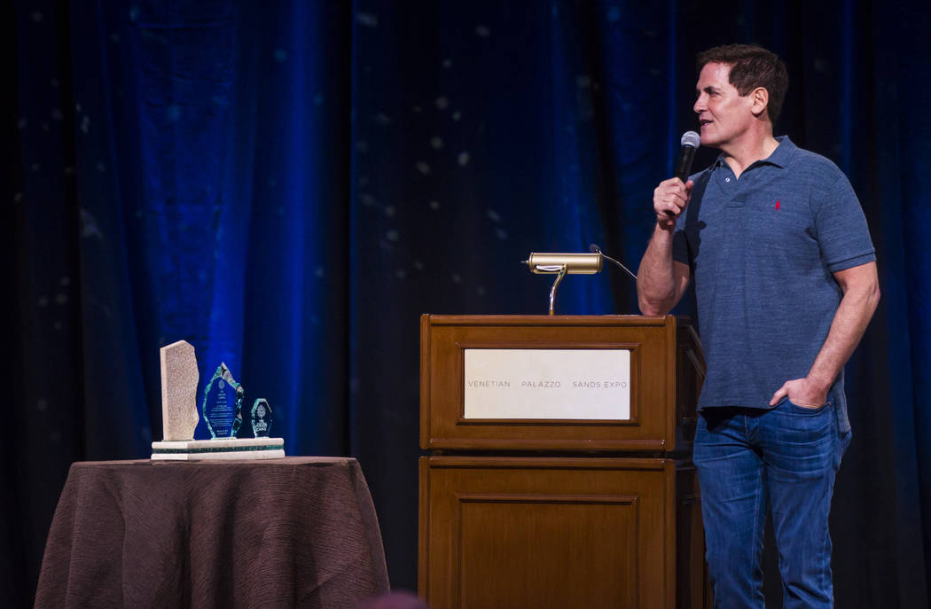Entrepreneur Mark Cuban answers questions from students during the Adelson Educational Campus' 13th annual In Pursuit of Excellence Gala at The Venetian hotel-casino in Las Vegas on Sunday, March  ...