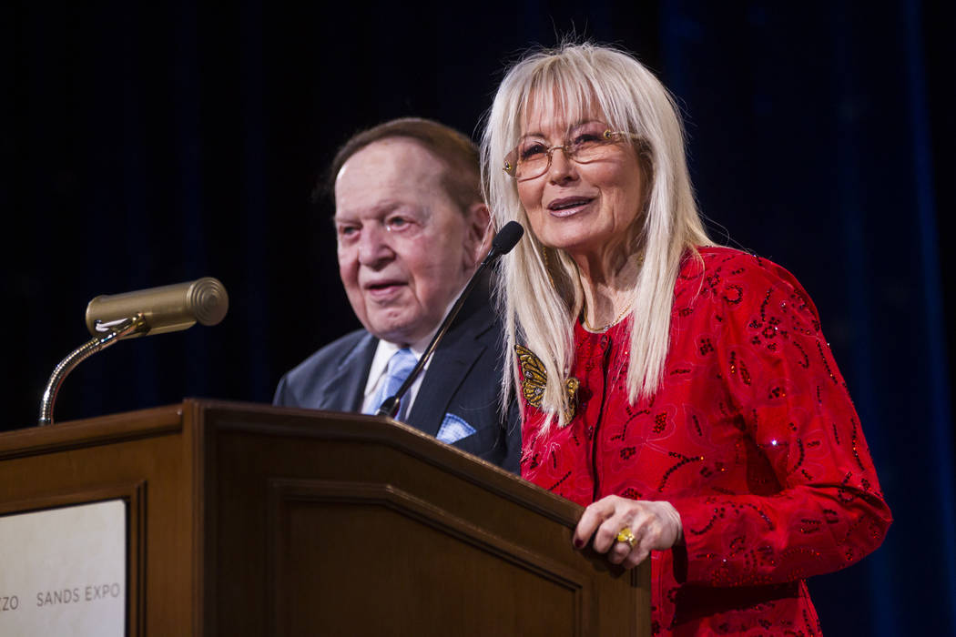 Dr. Miriam Adelson and Las Vegas Sands Corp. Chairman and CEO Sheldon Adelson speak during the Adelson Educational Campus' 13th annual In Pursuit of Excellence Gala at The Venetian hotel-casino in ...