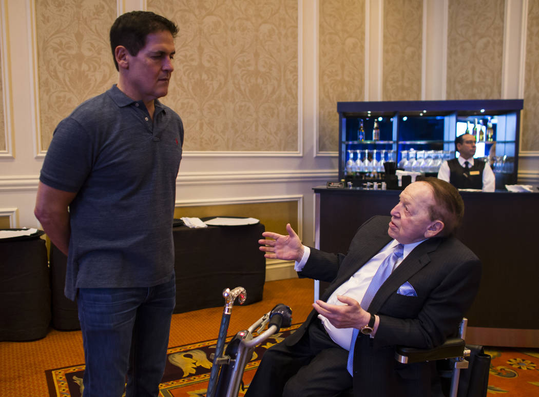 Entrepreneur Mark Cuban, left, talks with Las Vegas Sands Corp. Chairman and CEO Sheldon Adelson before attending the Adelson Educational Campus' 13th annual In Pursuit of Excellence Gala at The V ...