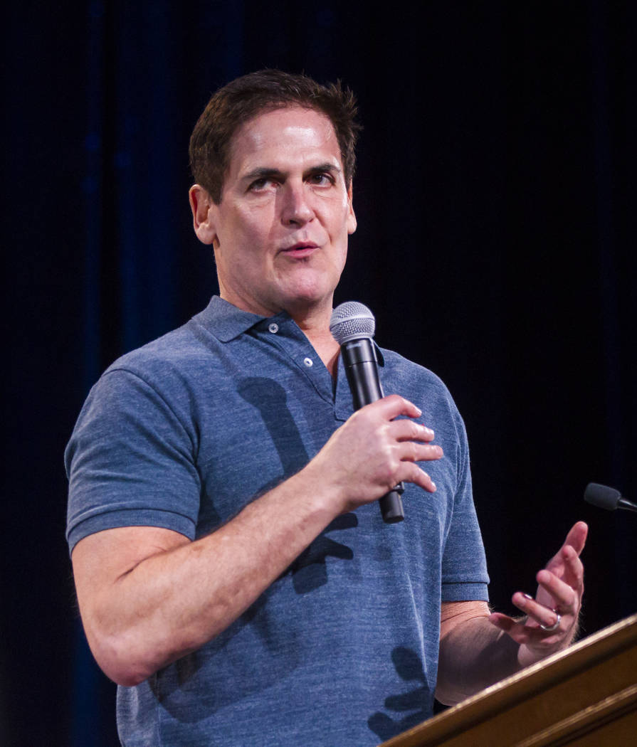 Entrepreneur Mark Cuban speaks during the Adelson Educational Campus' 13th annual In Pursuit of Excellence Gala at The Venetian hotel-casino in Las Vegas on Sunday, March 26, 2017. (Chase Stevens/ ...